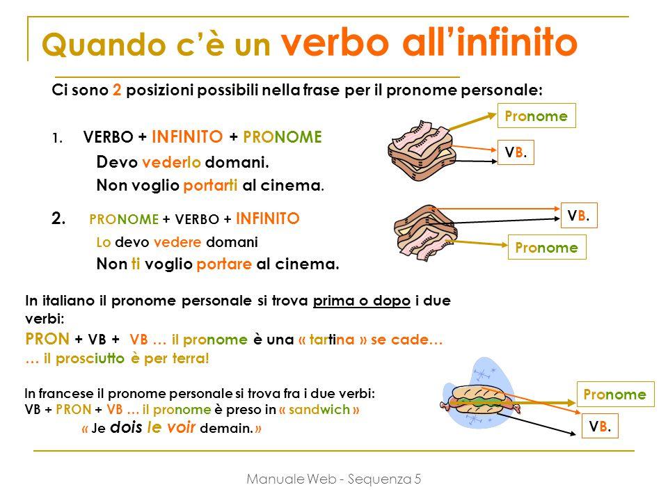 Manuale Web - Sequenza 5 Quando c'è un verbo all'infinito Ci sono 2 posizioni possibili nella frase per il pronome personale: 1.