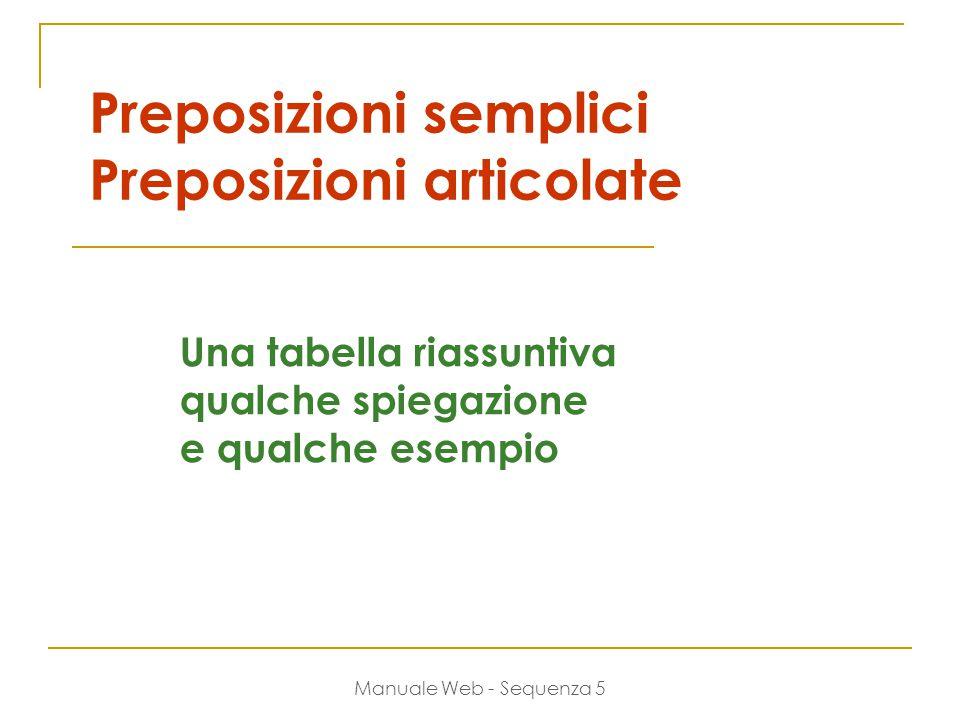 Manuale Web - Sequenza 5 Preposizioni semplici Preposizioni articolate Una tabella riassuntiva qualche spiegazione e qualche esempio