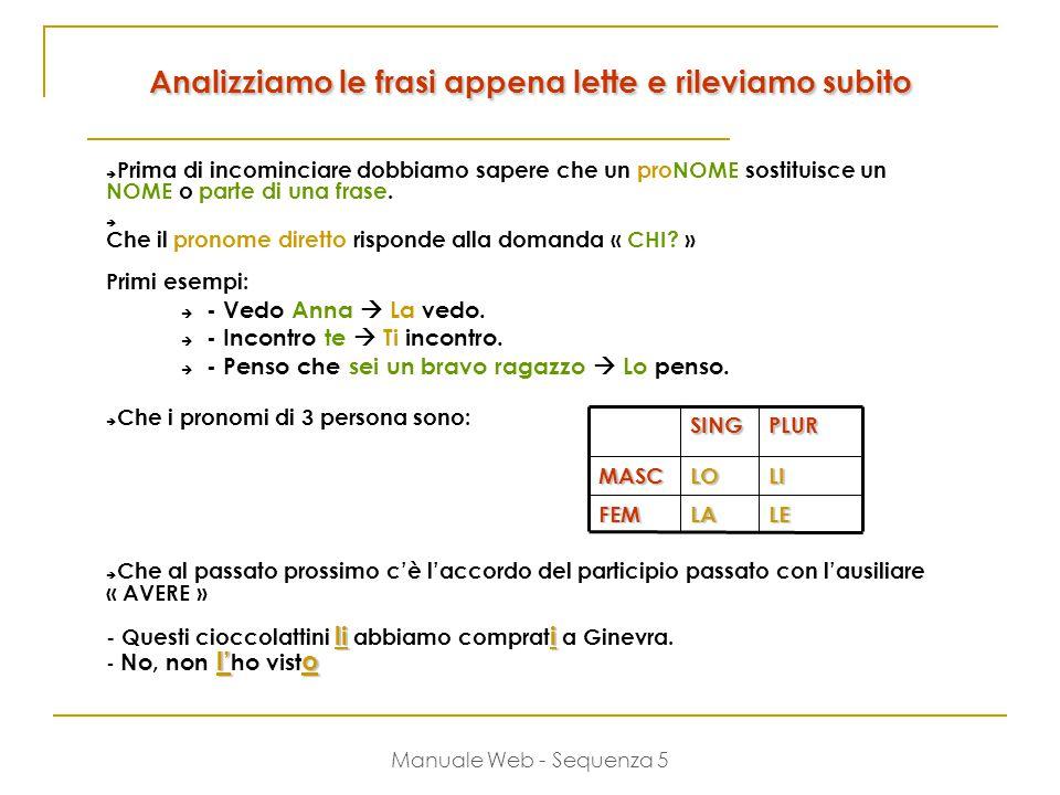 Manuale Web - Sequenza 5 Analizziamo le frasi appena lette e rileviamo subito  Prima di incominciare dobbiamo sapere che un proNOME sostituisce un NOME o parte di una frase.