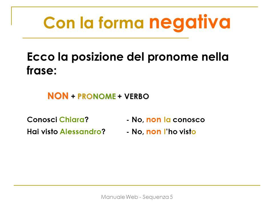 Manuale Web - Sequenza 5 Con la forma negativa Ecco la posizione del pronome nella frase: NON + PRONOME + VERBO Conosci Chiara?- No, non la conosco Hai visto Alessandro.