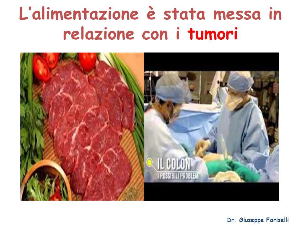 L'alimentazione è stata messa in relazione con i tumori Dr. Giuseppe Fariselli