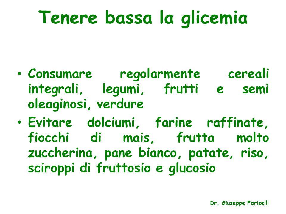 Tenere bassa la glicemia Consumare regolarmente cereali integrali, legumi, frutti e semi oleaginosi, verdure Evitare dolciumi, farine raffinate, fiocc