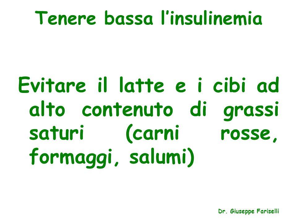 Tenere bassa l'insulinemia Evitare il latte e i cibi ad alto contenuto di grassi saturi (carni rosse, formaggi, salumi) Dr. Giuseppe Fariselli