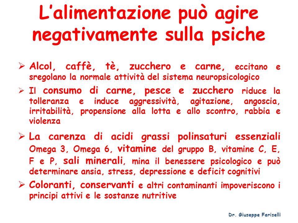 L'alimentazione può agire negativamente sulla psiche  Alcol, caffè, tè, zucchero e carne, eccitano e sregolano la normale attività del sistema neurop