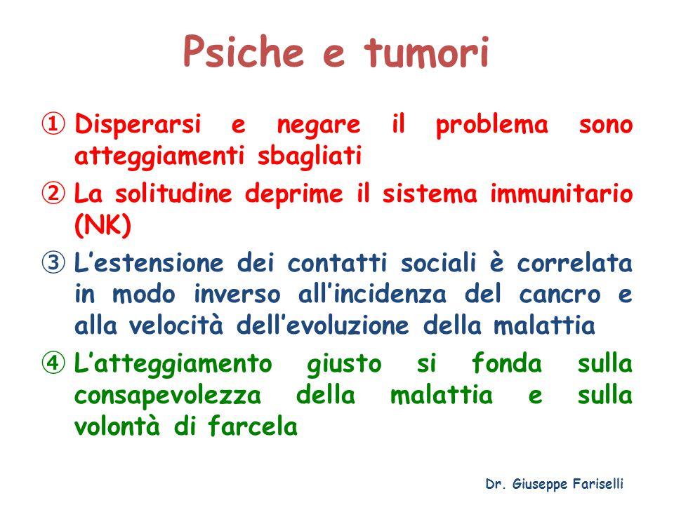Psiche e tumori ① Disperarsi e negare il problema sono atteggiamenti sbagliati ② La solitudine deprime il sistema immunitario (NK) ③ L'estensione dei