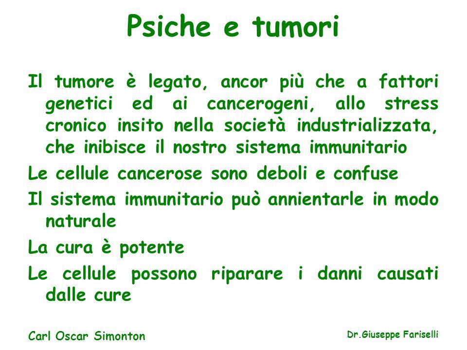 Psiche e tumori Il tumore è legato, ancor più che a fattori genetici ed ai cancerogeni, allo stress cronico insito nella società industrializzata, che