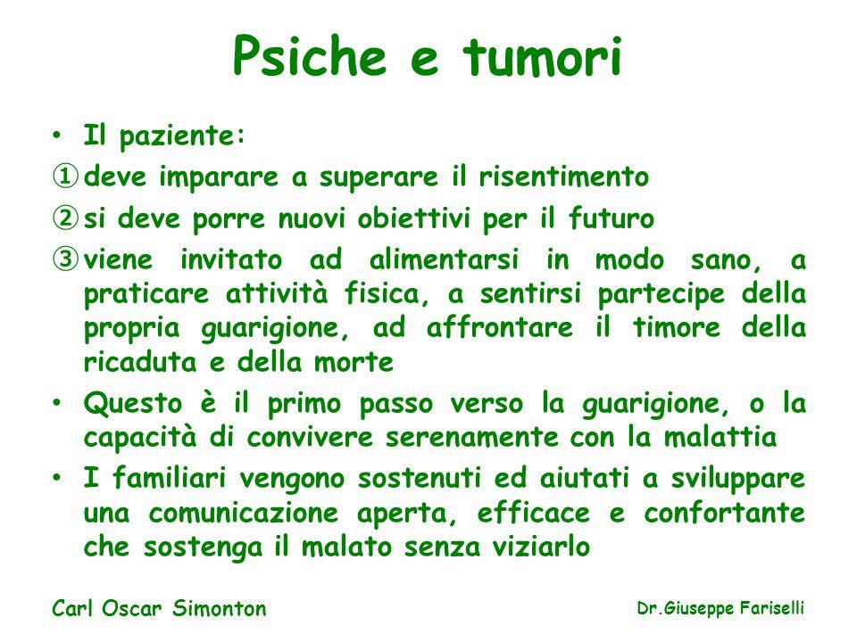 Psiche e tumori Il paziente: ① deve imparare a superare il risentimento ② si deve porre nuovi obiettivi per il futuro ③ viene invitato ad alimentarsi