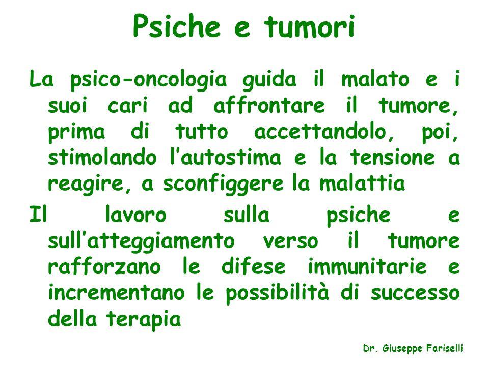 Psiche e tumori La psico-oncologia guida il malato e i suoi cari ad affrontare il tumore, prima di tutto accettandolo, poi, stimolando l'autostima e l