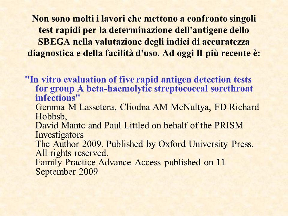 Non sono molti i lavori che mettono a confronto singoli test rapidi per la determinazione dell'antigene dello SBEGA nella valutazione degli indici di
