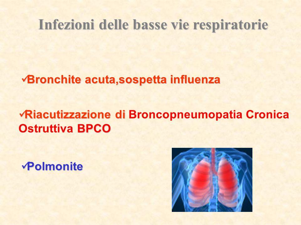 Infezioni delle basse vie respiratorie Riacutizzazione di Riacutizzazione di Broncopneumopatia Cronica BPCO Ostruttiva BPCO Polmonite Polmonite Bronch