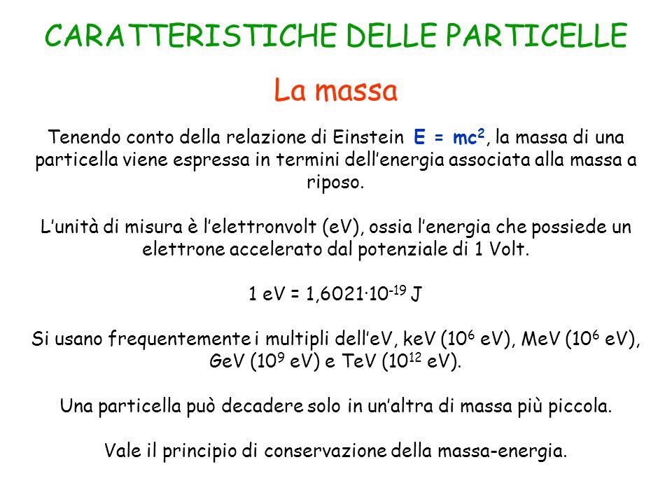 La massa Tenendo conto della relazione di Einstein E = mc 2, la massa di una particella viene espressa in termini dell'energia associata alla massa a riposo.
