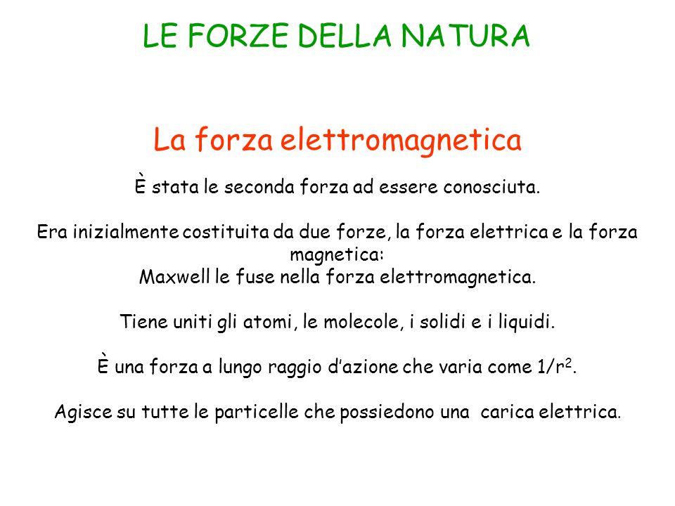 La forza elettromagnetica È stata le seconda forza ad essere conosciuta.