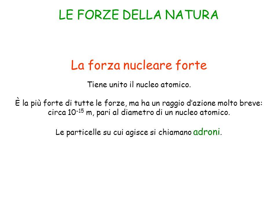 La forza nucleare forte Tiene unito il nucleo atomico.