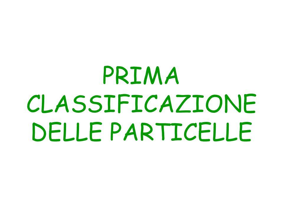 PRIMA CLASSIFICAZIONE DELLE PARTICELLE
