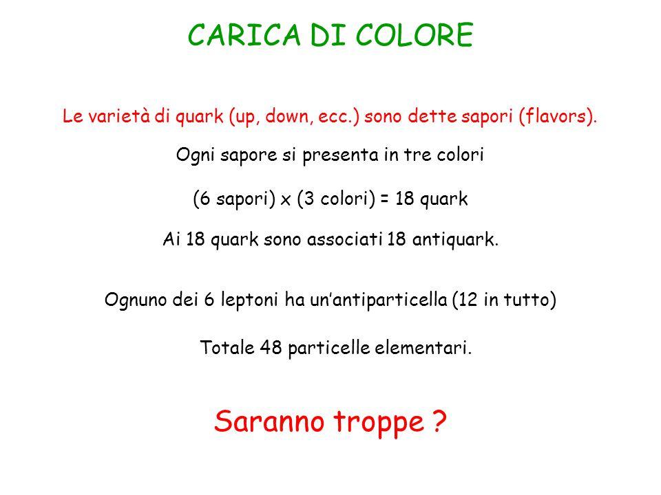 CARICA DI COLORE Le varietà di quark (up, down, ecc.) sono dette sapori (flavors).
