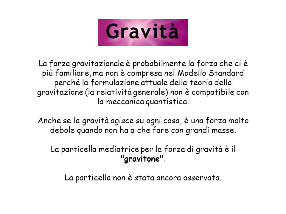 La forza gravitazionale è probabilmente la forza che ci è più familiare, ma non è compresa nel Modello Standard perché la formulazione attuale della teoria della gravitazione (la relatività generale) non è compatibile con la meccanica quantistica.