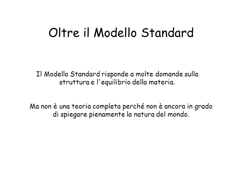 Oltre il Modello Standard Ma non è una teoria completa perché non è ancora in grado di spiegare pienamente la natura del mondo.