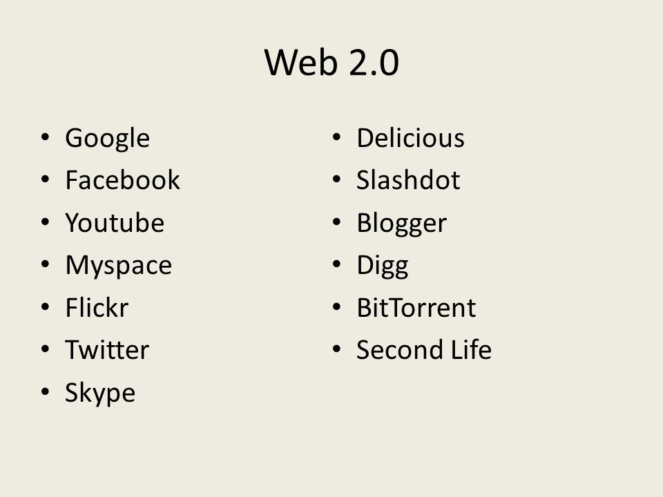 Web 2.0 Google Facebook Youtube Myspace Flickr Twitter Skype Delicious Slashdot Blogger Digg BitTorrent Second Life