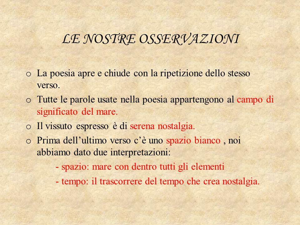 LE NOSTRE OSSERVAZIONI o La poesia apre e chiude con la ripetizione dello stesso verso. o Tutte le parole usate nella poesia appartengono al campo di