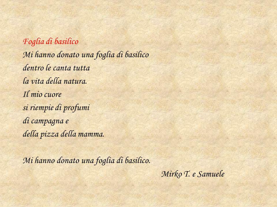 Foglia di basilico Mi hanno donato una foglia di basilico dentro le canta tutta la vita della natura. Il mio cuore si riempie di profumi di campagna e