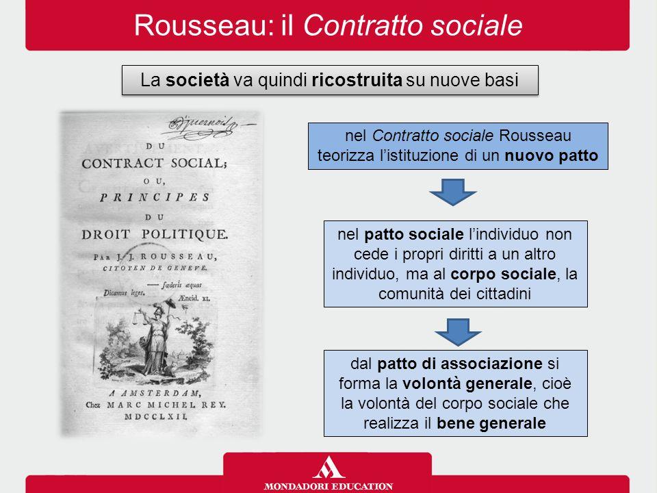 Rousseau: il Contratto sociale La società va quindi ricostruita su nuove basi nel Contratto sociale Rousseau teorizza l'istituzione di un nuovo patto