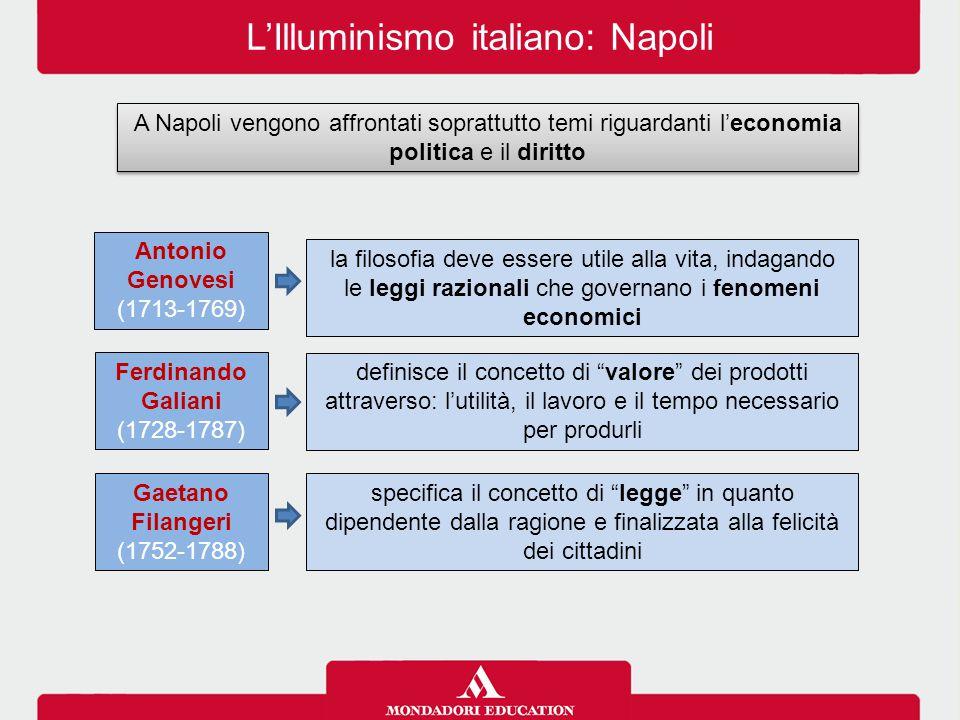 L'Illuminismo italiano: Napoli A Napoli vengono affrontati soprattutto temi riguardanti l'economia politica e il diritto Antonio Genovesi (1713-1769)