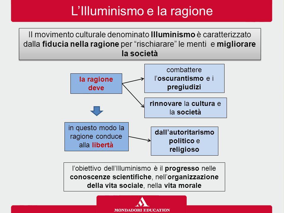 """L'Illuminismo e la ragione Il movimento culturale denominato Illuminismo è caratterizzato dalla fiducia nella ragione per """"rischiarare"""" le menti e mig"""