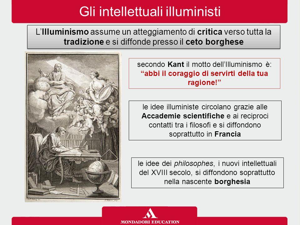 Gli intellettuali illuministi L'Illuminismo assume un atteggiamento di critica verso tutta la tradizione e si diffonde presso il ceto borghese le idee