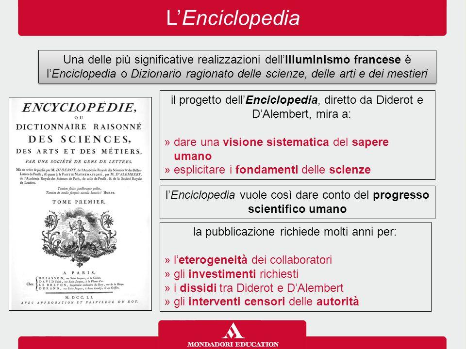 L'Enciclopedia Una delle più significative realizzazioni dell'Illuminismo francese è l'Enciclopedia o Dizionario ragionato delle scienze, delle arti e