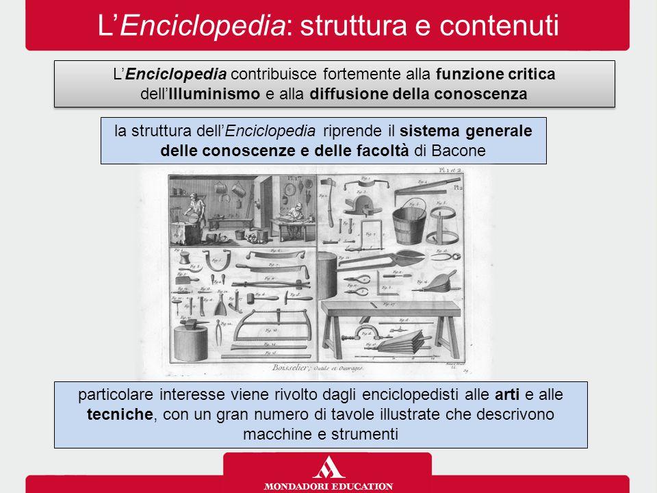 L'Enciclopedia: struttura e contenuti L'Enciclopedia contribuisce fortemente alla funzione critica dell'Illuminismo e alla diffusione della conoscenza