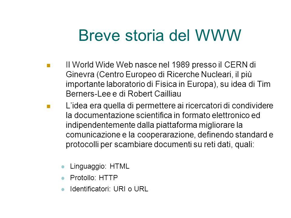 Breve storia del WWW Il World Wide Web nasce nel 1989 presso il CERN di Ginevra (Centro Europeo di Ricerche Nucleari, il più importante laboratorio di