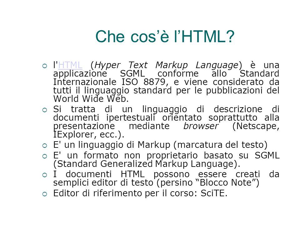 Che cos'è l'HTML?  l'HTML (Hyper Text Markup Language) è una applicazione SGML conforme allo Standard Internazionale ISO 8879, e viene considerato da