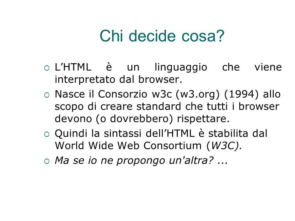 Chi decide cosa?  L'HTML è un linguaggio che viene interpretato dal browser.  Nasce il Consorzio w3c (w3.org) (1994) allo scopo di creare standard c