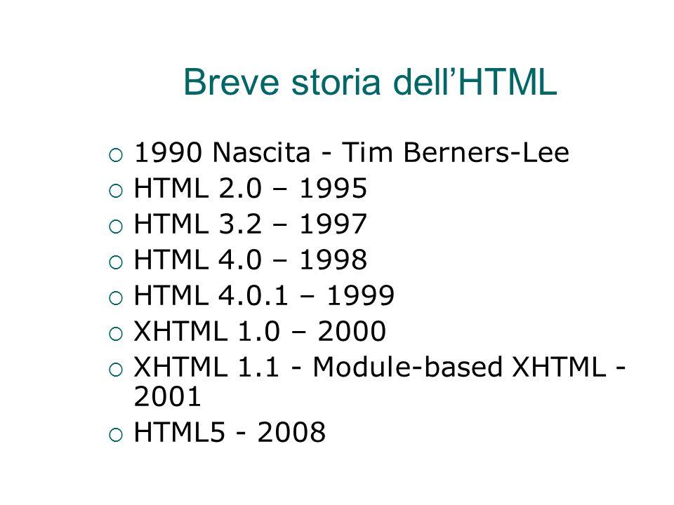 Breve storia dell'HTML  1990 Nascita - Tim Berners-Lee  HTML 2.0 – 1995  HTML 3.2 – 1997  HTML 4.0 – 1998  HTML 4.0.1 – 1999  XHTML 1.0 – 2000 