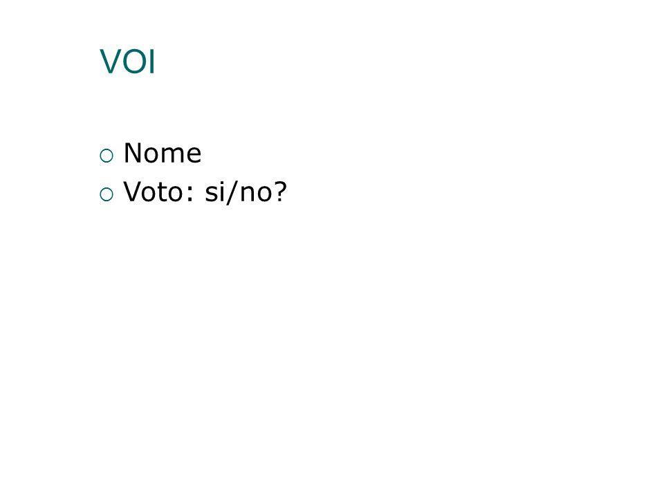VOI  Nome  Voto: si/no?