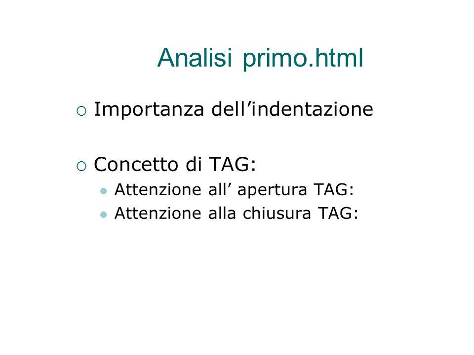 Analisi primo.html  Importanza dell'indentazione  Concetto di TAG: Attenzione all' apertura TAG: Attenzione alla chiusura TAG: