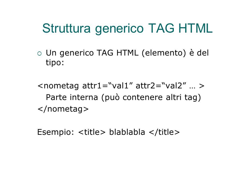 Struttura generico TAG HTML  Un generico TAG HTML (elemento) è del tipo: Parte interna (può contenere altri tag)  Esempio: blablabla