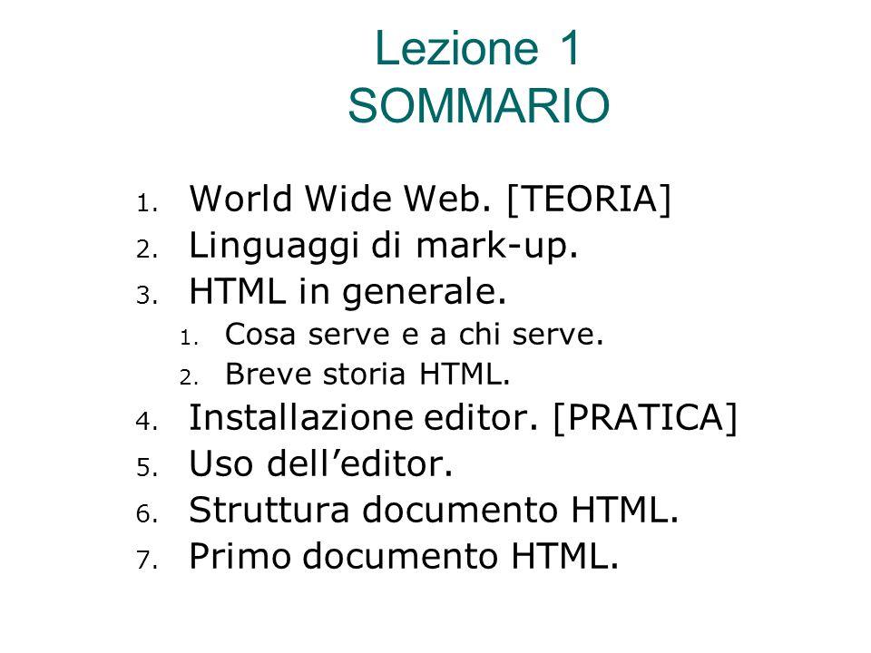 Breve storia dell'HTML  1990 Nascita - Tim Berners-Lee  HTML 2.0 – 1995  HTML 3.2 – 1997  HTML 4.0 – 1998  HTML 4.0.1 – 1999  XHTML 1.0 – 2000  XHTML 1.1 - Module-based XHTML - 2001  HTML5 - 2008