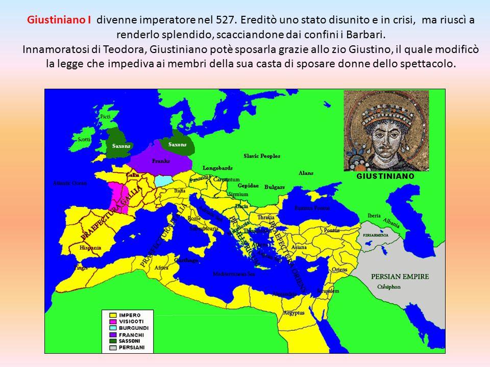 Giustiniano I divenne imperatore nel 527. Ereditò uno stato disunito e in crisi, ma riuscì a renderlo splendido, scacciandone dai confini i Barbari. I