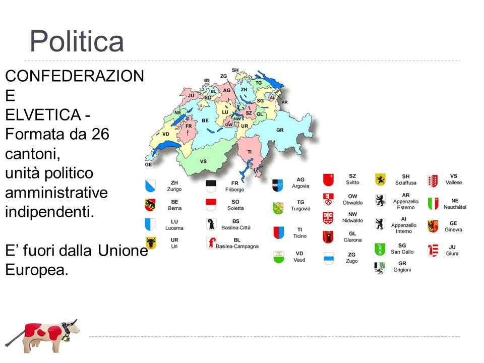 Politica CONFEDERAZION E ELVETICA - Formata da 26 cantoni, unità politico amministrative indipendenti. E' fuori dalla Unione Europea.