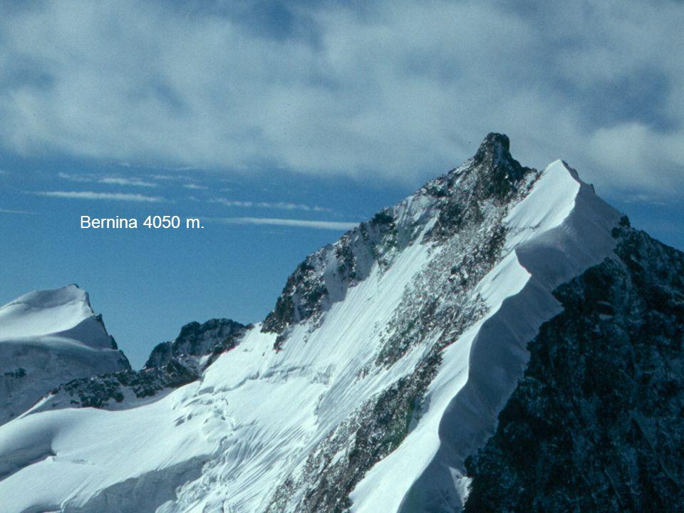 Cervino 4478 Monte Rosa 4637 m. Finsteraarhorn 4274 m. Bernina 4050 m.