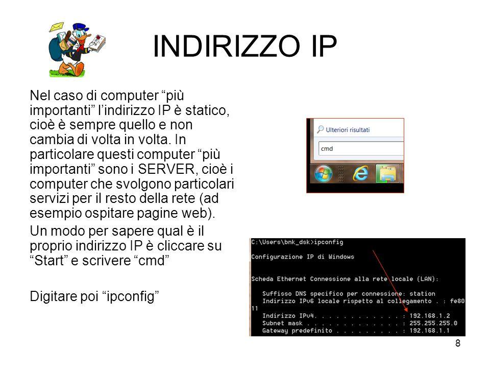 9 INDIRIZZO IP L'indirizzo IP si presenta quindi nella forma di una quadrupletta di numeri separati da un punto.