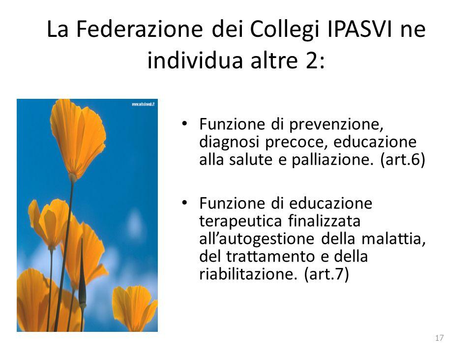 La Federazione dei Collegi IPASVI ne individua altre 2: Funzione di prevenzione, diagnosi precoce, educazione alla salute e palliazione. (art.6) Funzi