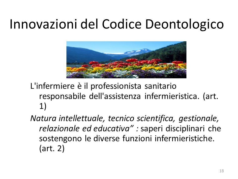 Innovazioni del Codice Deontologico L'infermiere è il professionista sanitario responsabile dell'assistenza infermieristica. (art. 1) Natura intellett