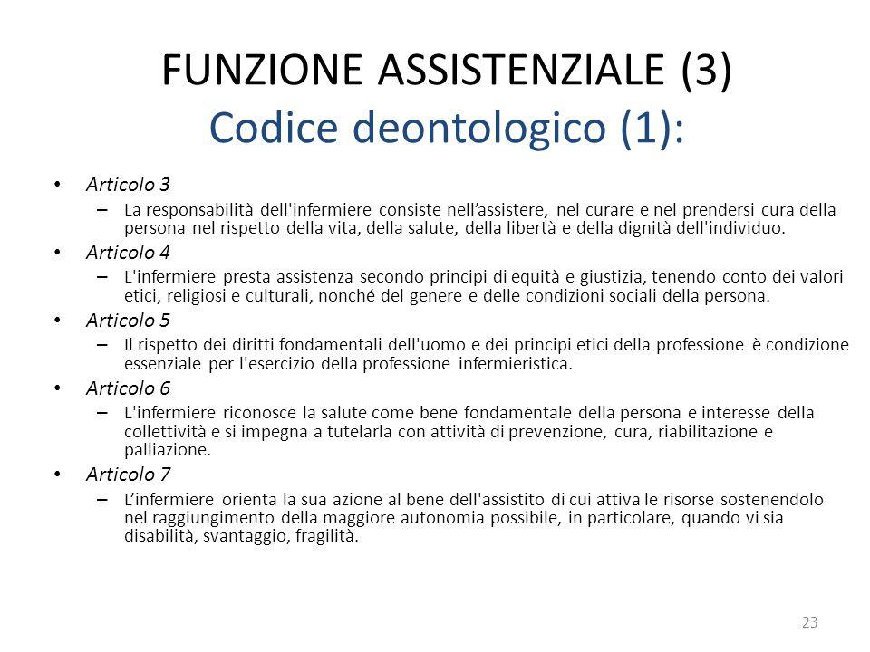 FUNZIONE ASSISTENZIALE (3) Codice deontologico (1): Articolo 3 – La responsabilità dell'infermiere consiste nell'assistere, nel curare e nel prendersi