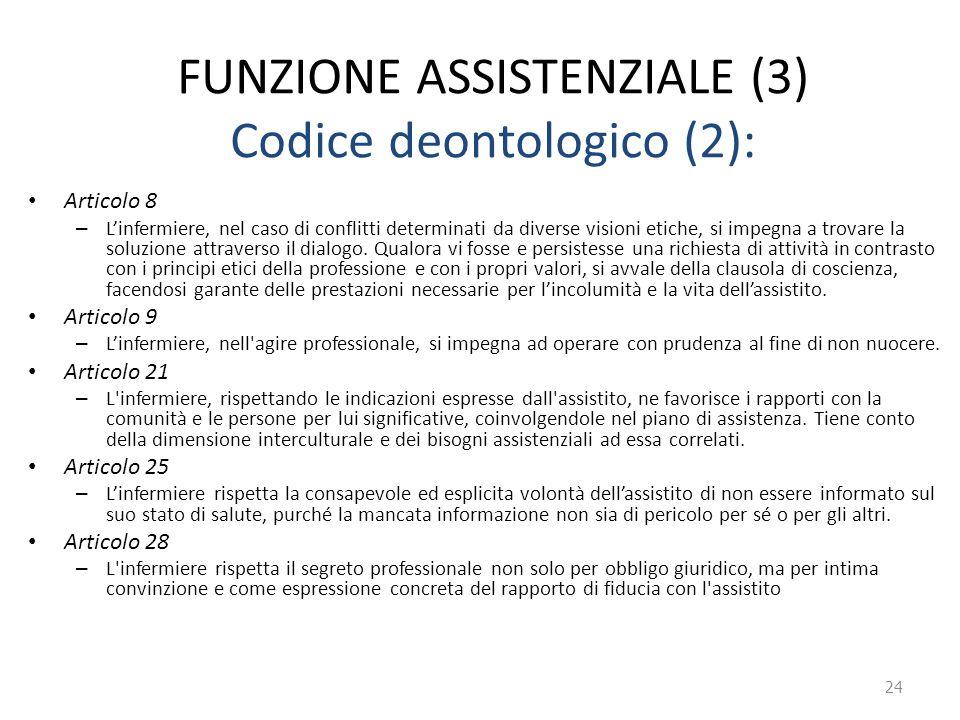 FUNZIONE ASSISTENZIALE (3) Codice deontologico (2): Articolo 8 – L'infermiere, nel caso di conflitti determinati da diverse visioni etiche, si impegna