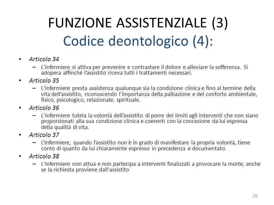 FUNZIONE ASSISTENZIALE (3) Codice deontologico (4): Articolo 34 – L'infermiere si attiva per prevenire e contrastare il dolore e alleviare la sofferen