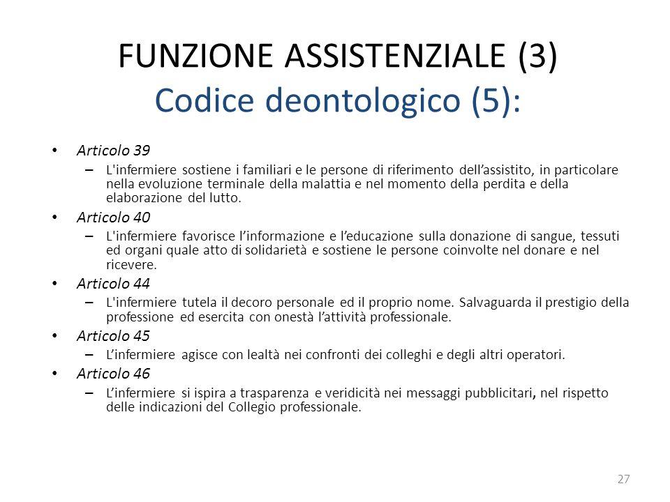 FUNZIONE ASSISTENZIALE (3) Codice deontologico (5): Articolo 39 – L'infermiere sostiene i familiari e le persone di riferimento dell'assistito, in par