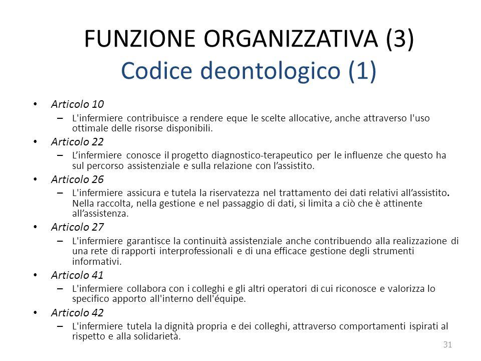 FUNZIONE ORGANIZZATIVA (3) Codice deontologico (1) Articolo 10 – L'infermiere contribuisce a rendere eque le scelte allocative, anche attraverso l'uso