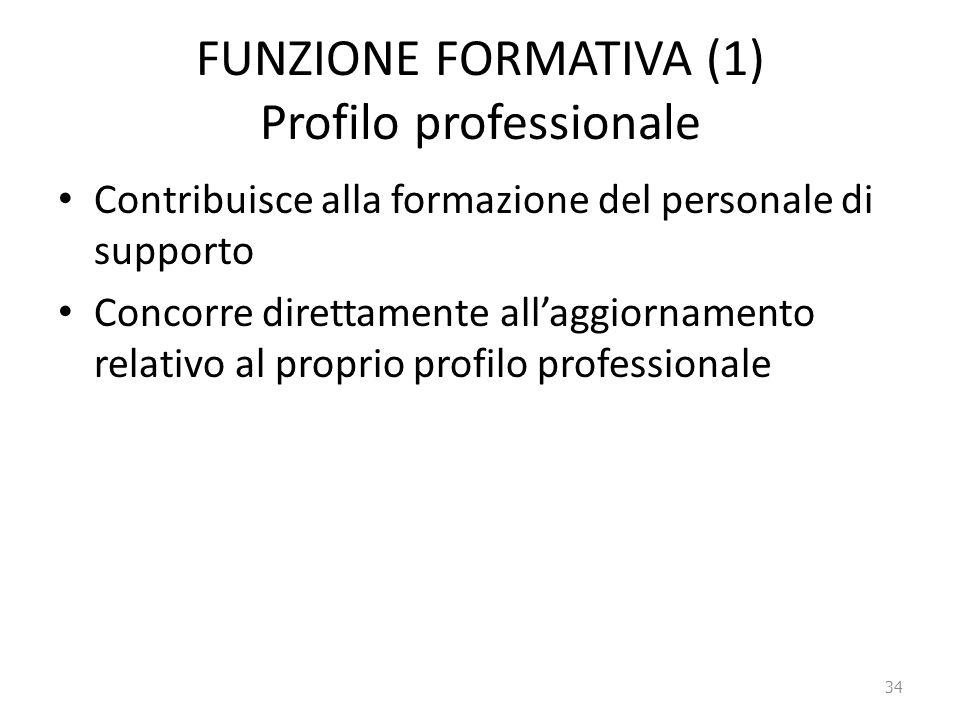 FUNZIONE FORMATIVA (1) Profilo professionale Contribuisce alla formazione del personale di supporto Concorre direttamente all'aggiornamento relativo a